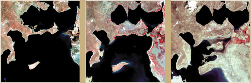 In perhaps one of the most well-known examples of a human-caused environmental disaster, irrigation has caused the Aral Sea to diminish in size significantly since the 1960s. The above images, captured by Landsat, allow people to visualize changes in the size of the Aral Sea from 1973 (left), 1987 (center), and 2000 (right). Credits: NASA, USGS