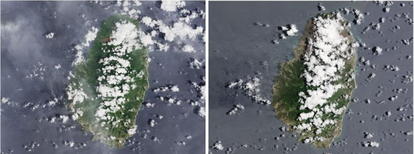 These images from Landsat 8 depict the effects of the La Soufriére eruption over the Caribbean Island of Saint Vincent. The image on the left, taken March 24, 2021, shows Saint Vincent before the eruption. The image on the right, taken on April 25, 2021, shows the island after the eruption. Credits: NASA