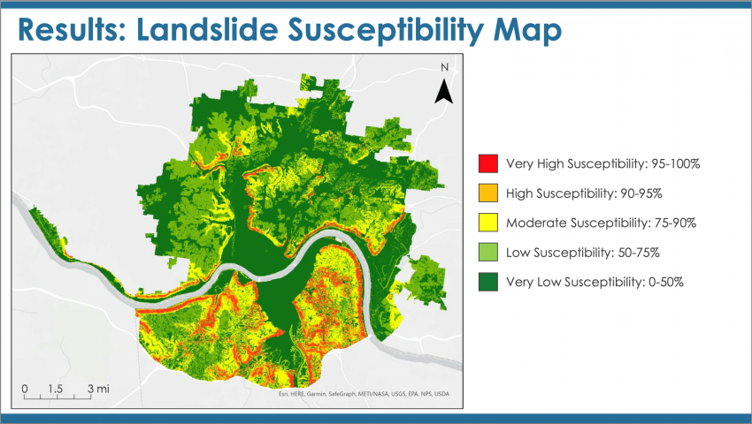 """This image, taken from the """"Cincinnati & Covington Urban Development II"""" project's final presentation, shows which areas within the Ohio-Kentucky border are the most susceptible to landslides. The intern team combined several landslide factors, such as elevation, slope, and lithology, to determine which areas were the most likely to experience landslides. Credits: NASA DEVELOP"""