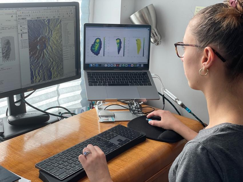Macorps works on remote sensing data for the eruption of La Soufrière of St Vincent and Grenadines in April 2021. She combines multiple digital elevation models to predict the paths of the pyroclastic flows and determine whether or not the flows could reach local villages. Credits: Elodie Macorps