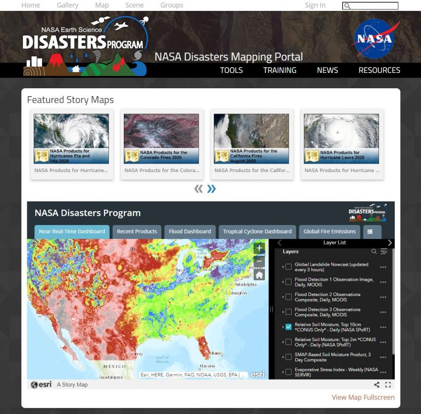 Screenshot from the Disasters Mapping Portal