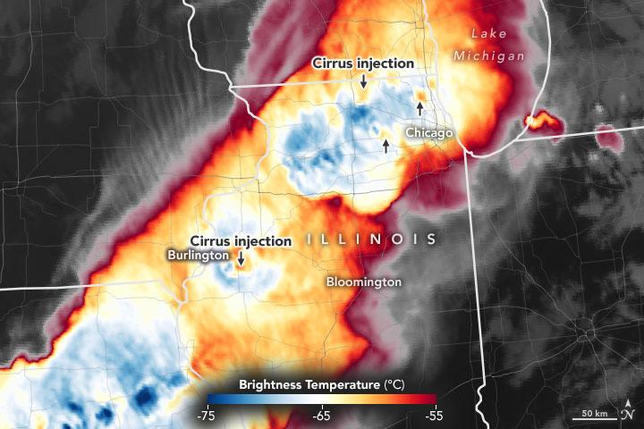 Cloud temperature data from the Advanced Baseline Imager (ABI) on the GOES-R satellite, observed on June 20, 2021. Credits: NASA Earth Observatory