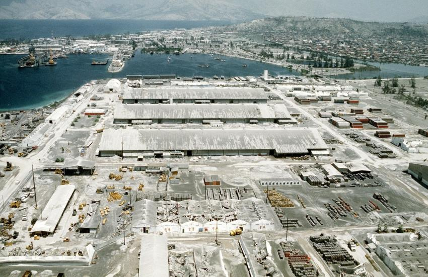 Ash covers the Subic Bay naval station following the eruption of Mount Pinatubo in 1991. Credits: U.S. Navy/SGT PAUL BISHOP
