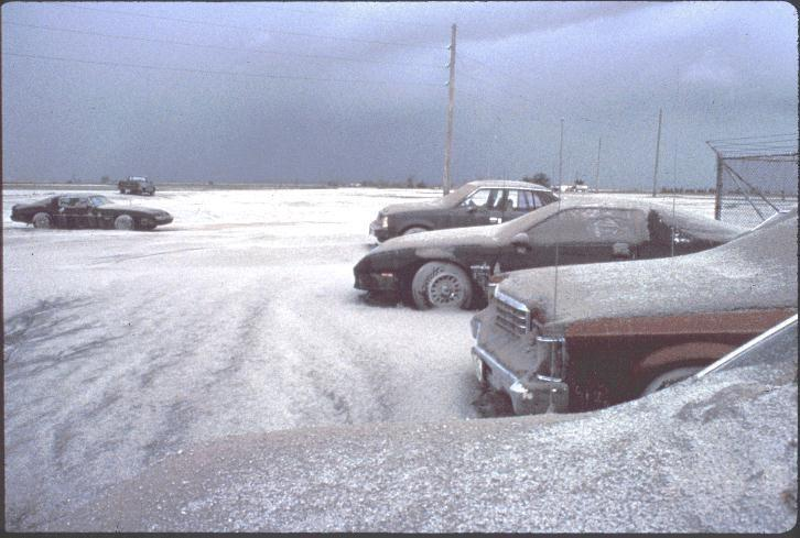 Ashfall from Mount Pinatubo's 1991 eruption covers vehicles near Clark Air Base in a snowlike blanket of tephra deposit on June 16, 1991. Credits: USGS/R.P. Hoblitt