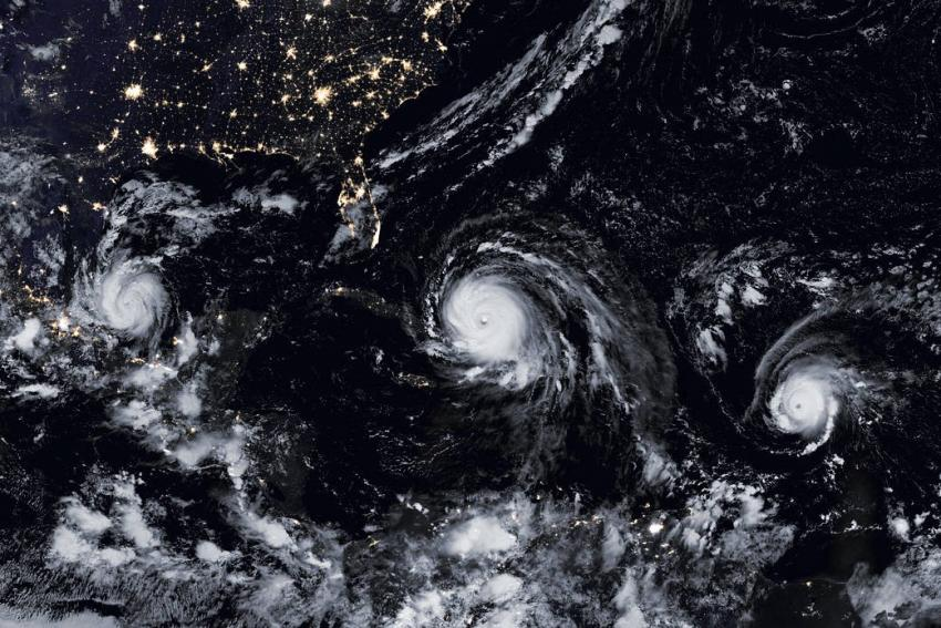 NASA held an online training session in 2018 to teach emergency management organizations ways to better respond to tropical storms such as the ones depicted above. These training sessions can help organizations learn to respond quicker and more efficiently. Credits: NASA, Joshua Stevens, Jesse Allen