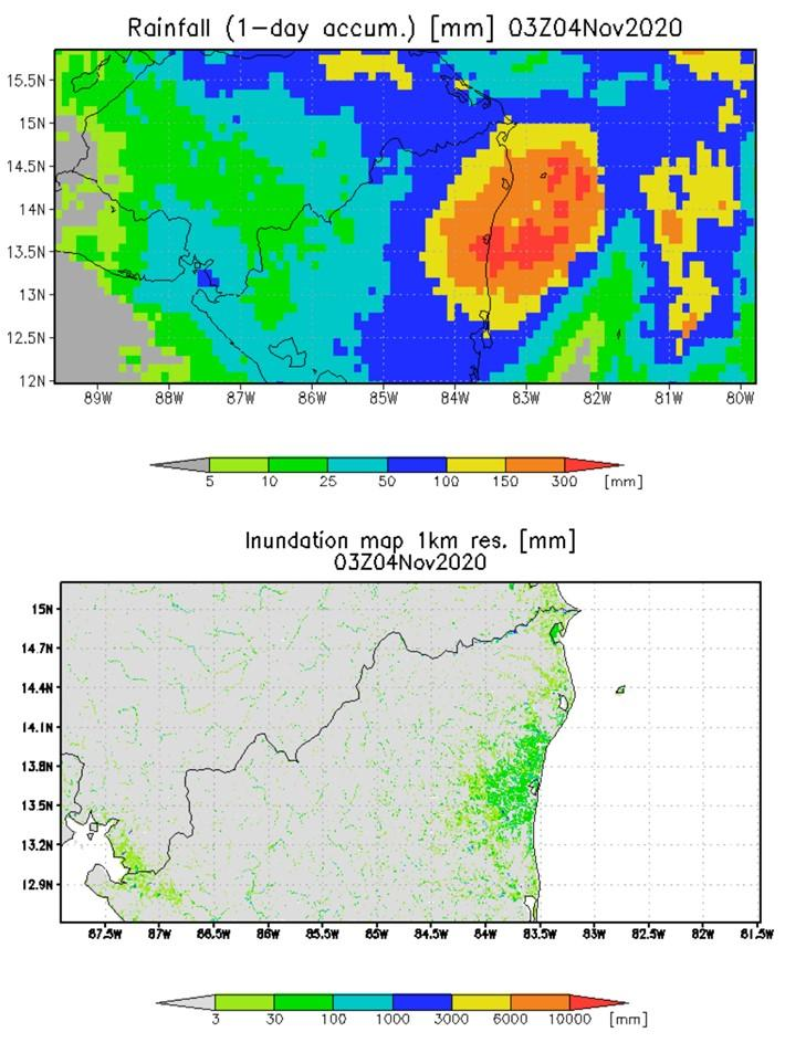 GPM-derived one-day rainfall estimates for northern Nicaragua on November 4 are shown above - flood estimates for the same day are shown below. Credit: NASA, University of Maryland, Dartmouth Flood Observatory