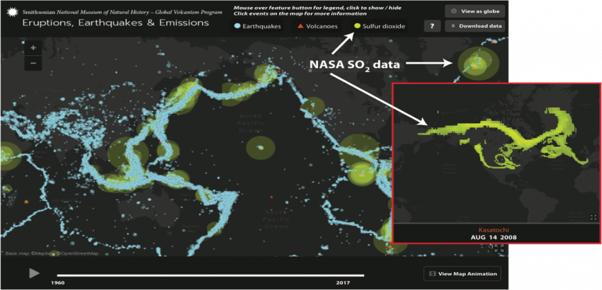 The Smithsonian Eruptions, Earthquakes, and Emissions (E3) web application provides a multidisciplinary interactive platform to access and visualize NASA data (green circles) together with the USGS's earthquakes data (blue dots), and GVP's volcanic eruptions data. Credits: NASA/Nickolay Krotkov
