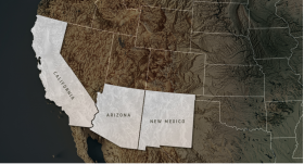 map of southwestern U.S. with CA, AZ, and NM highlighted