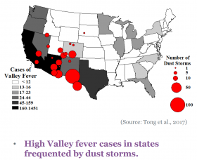 shaded map of U.S. with red circles showing dust storm and Valley fever occurrence