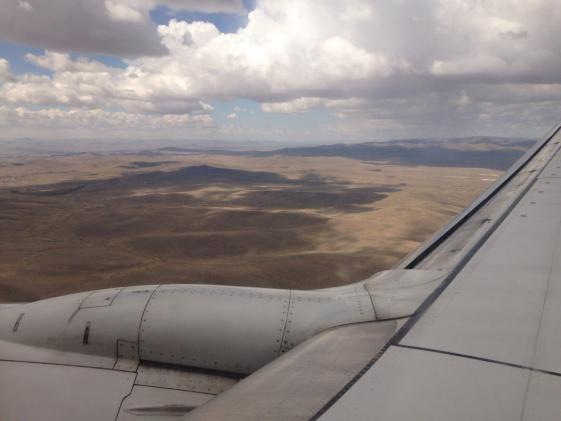 Photo of Mongolia out an airplane window