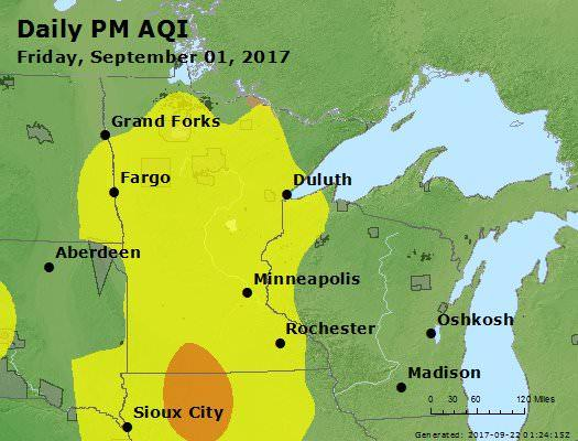 The AirNow website in 2017 showed the Air Quality Index (AQI) across Minnesota