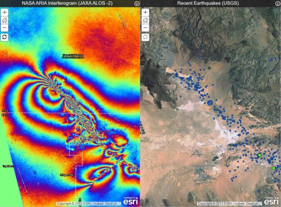 NASA ARIA Interferogram (JAXA ALOS-2) and Recent Earthquakes (USGS)