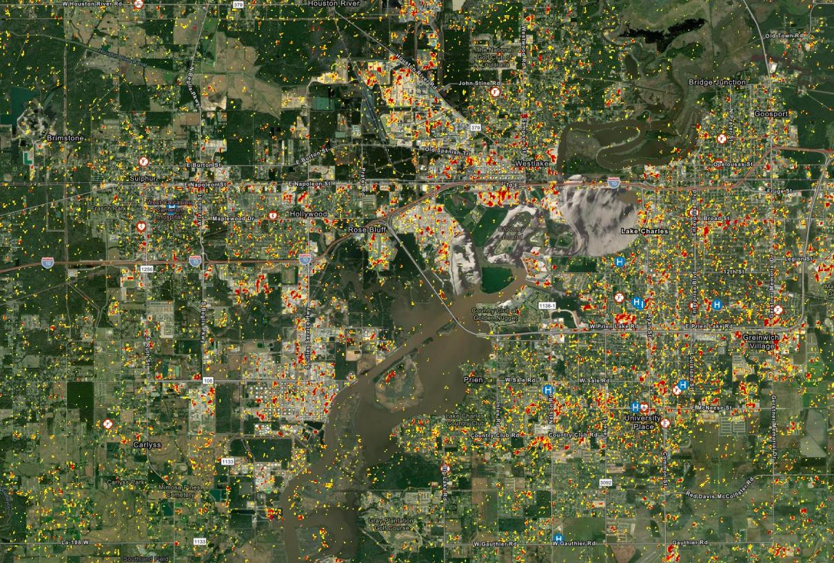 This Damage Proxy Map (DPM) shows likely damaged areas in red and yellow in Lake Charles, LA, due to high winds and flooding from Hurricane Laura.