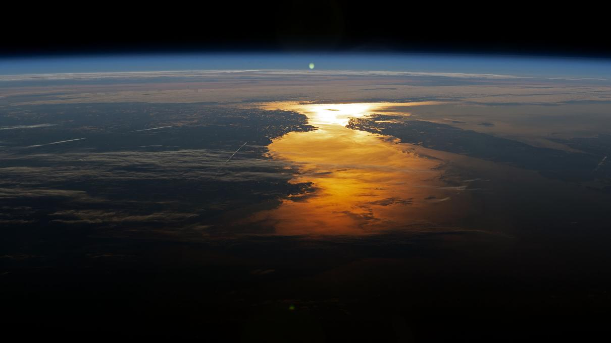 Photo of image of Earth's Atmosphere during sunset taken from the International Space Station