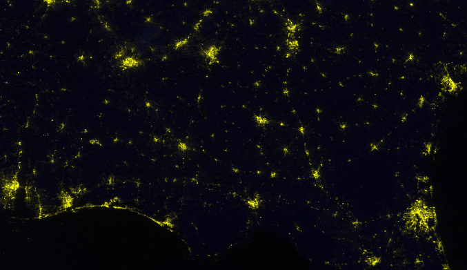 Image showing the intensity of the city lights post Hurricane Michael