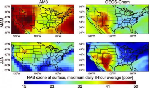 Mean values of North American Background (NAB) ozone in the lowest model layer for the GFDL AM3 and GEOS–Chem.