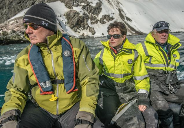 Heather Lynch with NBC News' Harry Smith and collaborator Ron Naveen at Point Wild, Elephant Island, Antarctica in 2016.