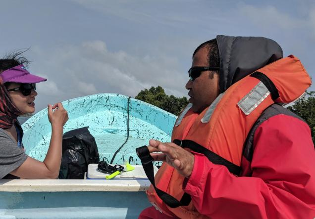 Christine Lee and Deepak Mishra of the University of Georgia conducting field work in Belize