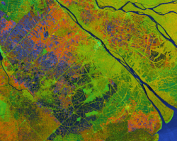 The Mekong Delta in southern Vietnam, as seen by Sentinel-1 C-band SAR on November 26, 2018.