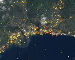 ARIA Damage Proxy Map (DPM) showing potentially damaged structures from Cyclone Harold