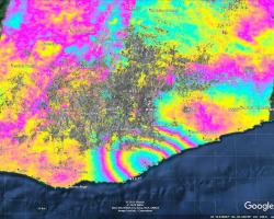This map produced from JAXA ALOS-2 satellite data shows surface displacement caused by the 7.4 magnitude earthquake in Mexico. Credit: NASA, JAXA Sang-Wan Kim, Batu Osmanoglu, and Min-Jeong Jo