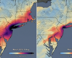data visualization of air pollution satellite data in the Eastern U.S.