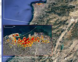 NASA's ARIA team with the Earth Observatory of Singapore, used satellite data to map the extent of likely damage following a massive explosion in Beirut. Dark red pixels represent the most severe possible damage.
