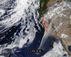 NASA's Terra satellite captured this imagery showing smoke from the California fires covering a region approximately 1,214 miles wide on August 20th, 2020.