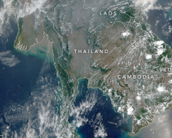 satellite image of air quality over Thailand